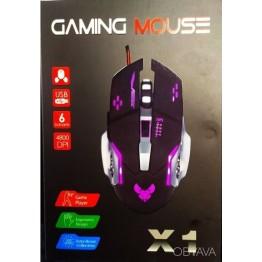 мышь игровая проводная оптическая с регулятором скорости и подсветкой в коробке GAMING MOUSE X1