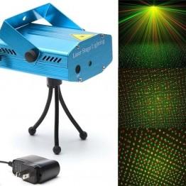 лазерный проектор светомузыки с аудиодатчиком и точечным зелено-красным рисунком ATLANFA AT-W001