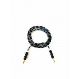 кабель AUX 3,5 jack на 3,5 jack тканевый с полосками и металлическим наконечником A-606
