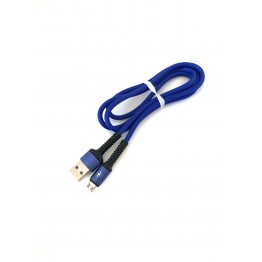 кабель переходник с USB на микро USB тканевый однотонный с пластиковым укрепленным штекером S-751