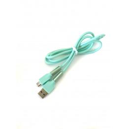кабель переходник с USB на микро USB резиновый однотонный с металлическим укрепленным штекером S-752