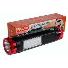 колонка с USB, SD, FM, Bluetooth, 2-я фонариками, AUX, ремешком, и 1-динамиком 21см*5см GOLON RX-C1BTL