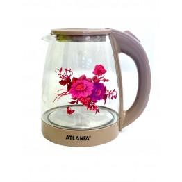дисковый стеклянный электрочайник с подсветкой и рисунком премиум качества 2.0л, 1800ватт ATLANFA AT-H06