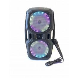колонка в виде чемодана от сети и от аккум., с микрофоном, пультом, USB, SD, FM, Bluetooth, светомузыкой и выходом на AUX 48см*30см*8см, 2*6ватт K45