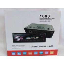 автомагнитола со съёмной панелью, 4-я выходами, Bluetooth, USB, SD, FM, AUX, евро-разъемом и радиатором охлаждения 1083