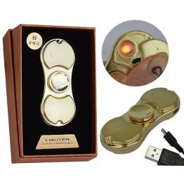 электроимпульсовая USB зажигалка-спиннер с аккумулятором и подсветкой