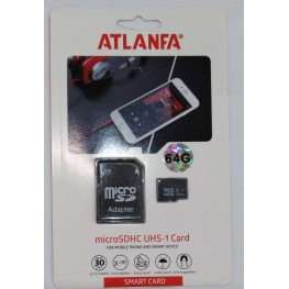 карта памяти 64Gb class 10 (adapter SD) ATLANFA