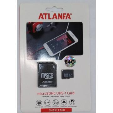 карта памяти 64Gb class 10 (adapter SD) ATLANFA
