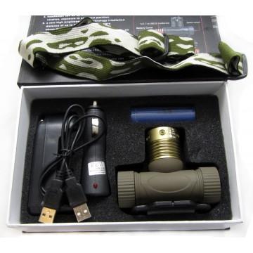 фонарик налобный с аккум., заря.устр. от сети и от прик., зумом и водонепрониц.(police) BL-6855