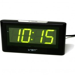 настольные часы с будильником от сети с зеленой подсветкой VST-732-2