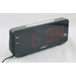 говорящие настольные часы с будильником от сети с красной подсветкой VST-763T-1