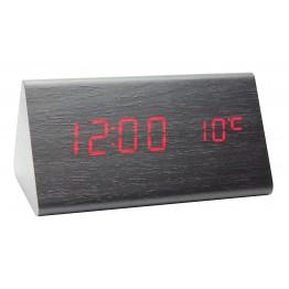 настольные часы от сети и от батареек в виде дерев.бруска с красной подсветкой/датчик температуры/дата VST-861-1