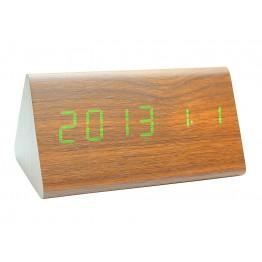 настольные часы с будильником от сети с ярко-зеленой подсветкой/датчиком темп/дата в виде дерев.бруска VST-861-4