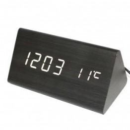 настольные часы с будильником от сети с белой подсветкой/датчиком темп/дата в виде дерев.бруска VST-861-6
