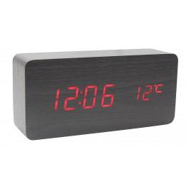 настольные часы от сети и от батареек в виде дерев.бруска с красной подсветкой/датчик темпер./дата VST-862-1