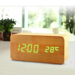 настольные часы от сети и от батареек в виде дерев.бруска с ярко-зеленой подсветкой/датчик темпер./дата VST-862-4