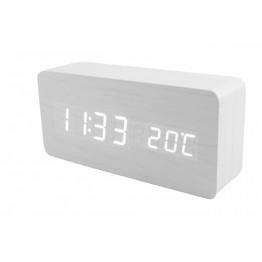 настольные часы с будильником от сети и от батареек с белой подсветкой/датчик темпер./дата в виде дерев.бруска VST-862-6