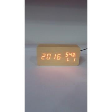 настоль часы от сети и от бат. с крас. подсвет. дата, с датч. темпер. и влажности в виде дерев.бруска VST-862S-1