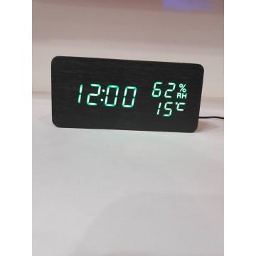 настоль часы от сети и от бат. с ярко.зел. подсвет. дата, с датч. темпер. и влажности в виде дерев.бруска VST-862S-4