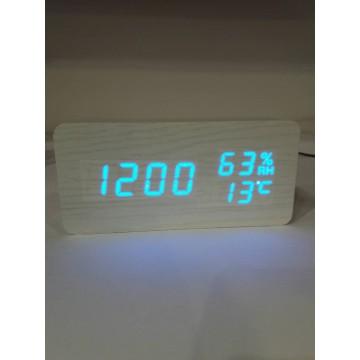 настоль часы от сети и от бат. с синей подсвет. дата, с датч. темпер. и влажности в виде дерев.бруска VST-862S-5