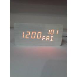 настольные часы от сети и от бат. с красной подсвет./датчик темпер./дата, день недели и влажность в виде дерев.бруска VST-862W-1