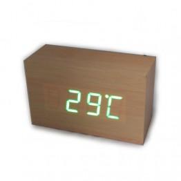 настольные часы декоративные от сети и от батареек с ярко-зеленой подсветкой в виде дерев.бруска VST-863-4