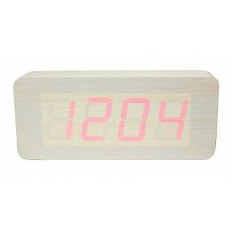настольные часы от сети и от батареек в виде дерев.бруска с красной подсветкой/датчик температуры/дата VST-865-1