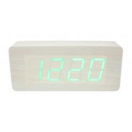 настольные часы с будильником от сети и от батареек с зеленой подсвет./датчиком темп/дата в виде дерев.бруска VST-865-4
