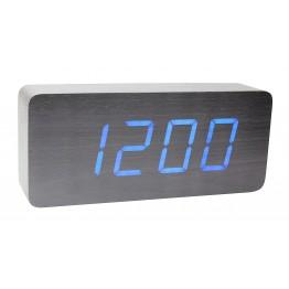 настольные часы с будильником от сети и от батареек с синей подсветкой/датчиком темп/дата в виде дерев.бруска VST-865-5
