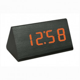 настольные часы от сети и от батареек в виде дерев.бруска с красной подсветкой/датчик температуры/дата VST-868-1