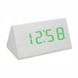 настольные часы от сети и от батареек в виде дерев.бруска с ярко-зеленой подсветкой/датчик температуры/дата VST-868-4