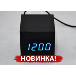 настольные часы с будиль. от сети и от батареек с синей подсвет. /датчик темпер./дата в виде дерев.бруска VST-872-5
