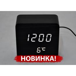 настольные часы с будильником от сети и от батареек с белой подсветкой/датчик темпер./дата в виде дерев.бруска VST-872-6