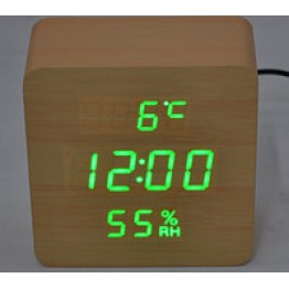 настоль часы от сети и от бат. с ярко.зел. подсвет. дата, с датч. темпер. и влажность в виде дерев.бруска VST-872S-4