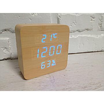 настоль часы от сети и от бат. с синей подсвет. дата, с датч. темпер. и влажности в виде дерев.бруска VST-872S-5