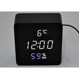 настоль часы от сети и от бат. с белой подсвет. дата, с датч. темпер. и влажности в виде дерев.бруска VST-872S-6