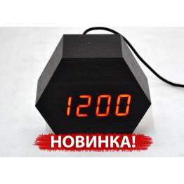 настольные часы от сети и от батареек в виде дерев.бруска с красной подсветкой/датчик температуры/дата VST-876-1