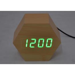 настольные часы с будильником от сети с ярко-зеленой подсветкой/датчиком темп/дата в виде дерев.бруска VST-876-4