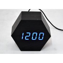 настольные часы с будильником от сети с синей подсветкой/датчиком темп/дата в виде дерев.бруска VST-876-5