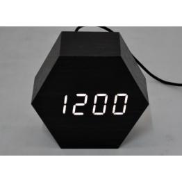 настольные часы с будильником от сети с белой подсветкой/датчиком темп/дата в виде дерев.бруска VST-876-6