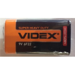батарейка VIDEX 9V 6F22 (крона) (1шт/24шт/480шт)