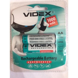 аккумулятор VIDEX Rechargeable R-6 1000mAh 1.2V(HR6,size AA,NiMN) (2шт/20шт/360)