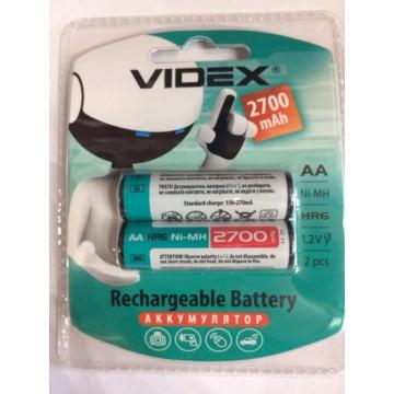 аккумулятор VIDEX Rechargeable R-6 2700mAh 1.2V(HR6,size AA,NiMN) (2шт/20шт/360)