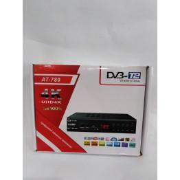 эфирная цифровая приставка в металлическом корпусе T2 с дислеем, разъёмом под Wi-Fi и пультом (Full HD 1080) AT-789