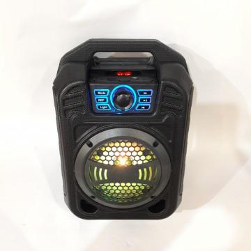 колонка мини чемодан от сети и от аккумулятора с USB, SD, FM, AUX, Bluetooth, светомузыкой и с выходом на микрофон 34см*23см*14см 9ватт BS-12