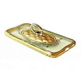 чехол силикон. прозрачный с колечком в овальной рамке на iphone 5/5S COV-031