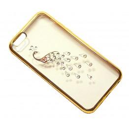 чехол силикон.прозр. с павлином в камушках с бампером под металл в камушках на iphone 6/6S в блистере COV-039