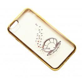 чехол силикон.прозр. с ракушкой в камушках с бампером под металл в камушках на iphone 6/6S в блистере COV-041