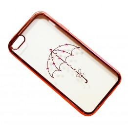чехол силикон.прозр. с зонтиком в камушках с бампером под металл в камушках на iphone 5/5S в блистере COV-046