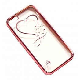 чехол силикон.прозр. с сердечком в камушках с бампером под металл в камушках на iphone 6/6S в блистере COV-051